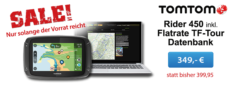 TomTom Rider 450 inklusive  TF-Tour-Datenbank-Flatrate