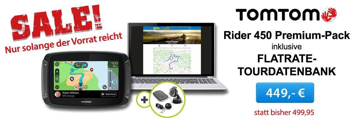 TomTom Rider 450 inklusive  TF-Tour-Datenbank-Flatrate