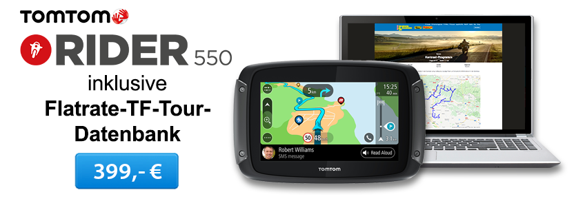 TomTom Rider 550 inklusive TF-Tour-Datenbank-Flatrate